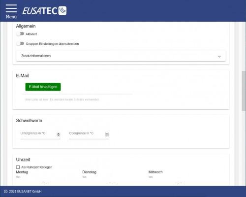 EUSATEC Temperatur-Überwachung Einstellungen des Cloudservices