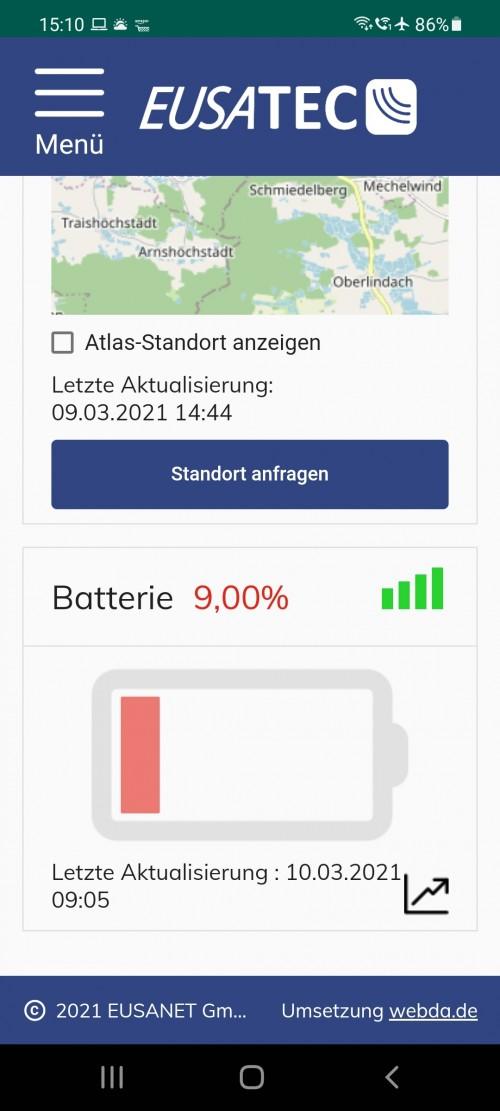 eusatec Dashboard über Android App auf Smartphone