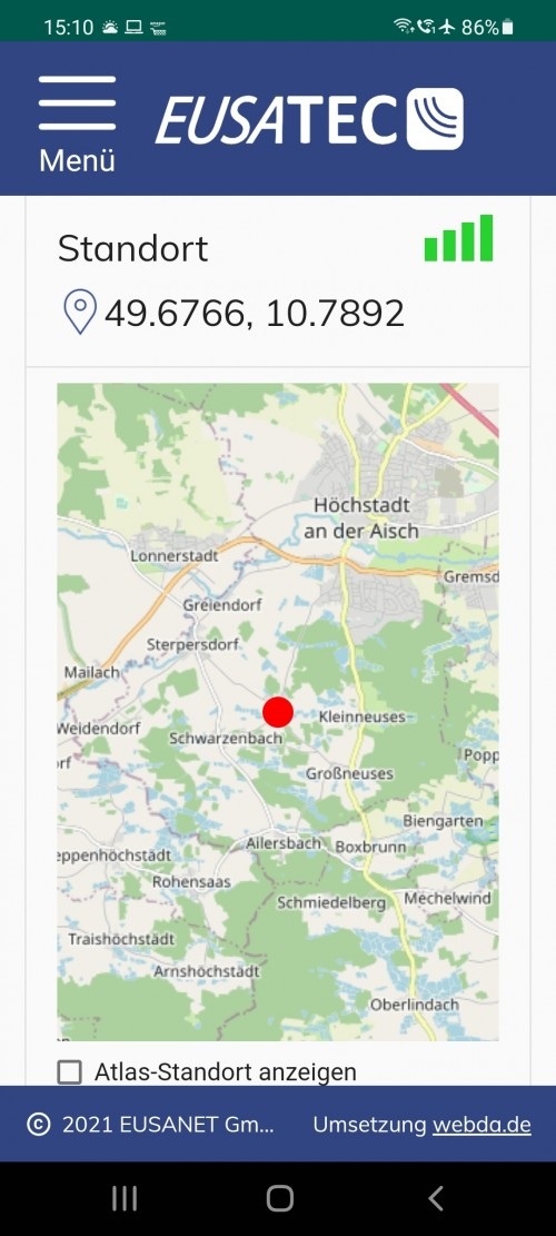 eusatec GPS Standort über Android App auf Smartphone
