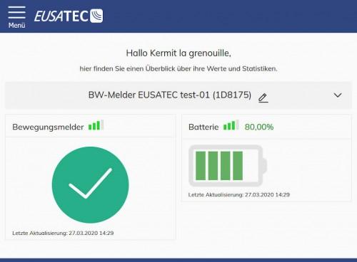 EUSATEC IoT Cloud-Service Dashboard Erschütterungssensor (Glasbruchmelder)