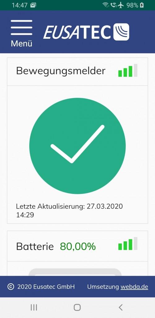 EUSATEC IoT Cloud-Service Dashboard Erschütterungssensor (Glasbruchmelder) via APP