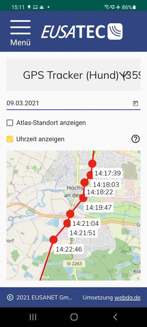 eusatec APP GPS Standortverlauf