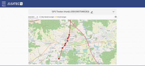 eusatec GPS Standortverlauf über Internetbrowser