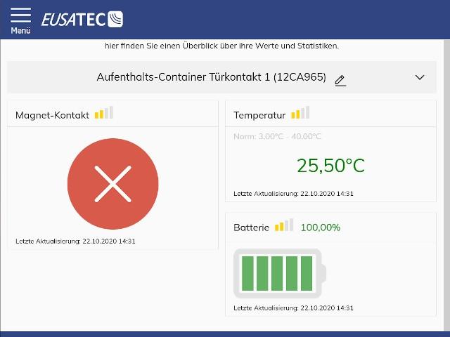 Screenshot für EUSATEC Browser Oberfläche eine Tür-/Fenster Kontaktes Gerätes
