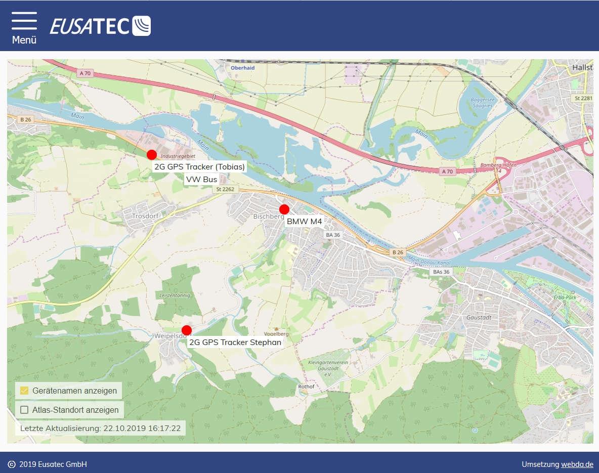 EUSATEC Live Übersicht aller Fahrzeuge-Tracker